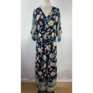 Chico's  Floral Kimono Maxi  Dress